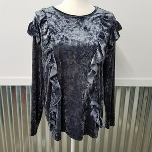 Pebble and Stone Tops - Pebble and Stone Velvet Ruffle Front Top